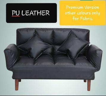 2 SEATER SOFA BED (PU leather BLACK ONLY)