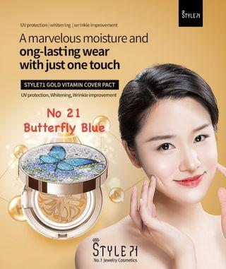 Style71 Gold Vitamin Cover Pact (New) - No21. Butterfly Blue - Korea Compact Cushion Makeup