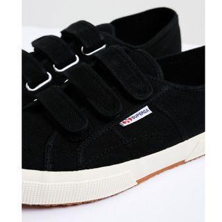 Superga Unisex 2750 3 Velcro Strap Black Cotu Canvas Sneakers Sz 42