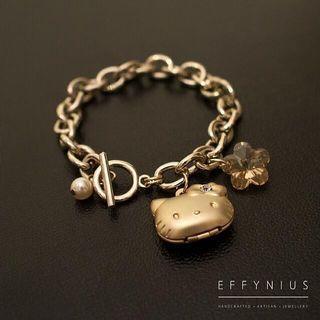 SALE | 24K Gold Plated Hello Kitty Locket Charm Bracelet With Swarovski Crystal