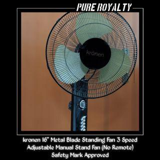 """kronen 16"""" Metal Blade Standing Fan 3 Speed Adjustable Manual Stand Fan (No Remote) - Safety Mark Approved - HOT SELLING!"""