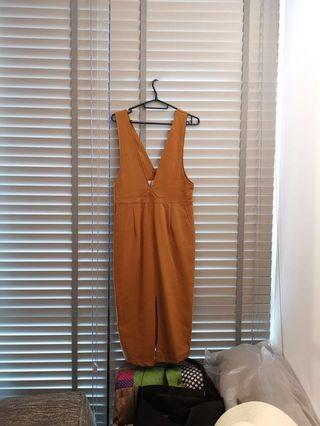 Camel colour romper to be worn with tanks or inner top