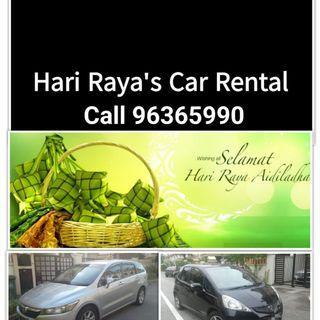 Hari Raya (14-16 June) car rental - call 98351729
