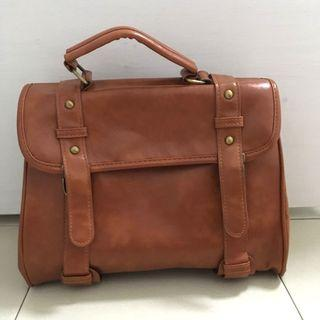 Brown Faux Leather Satchel Bag