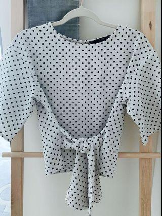 🚚 Zara - Polka Dot Sleeves Top