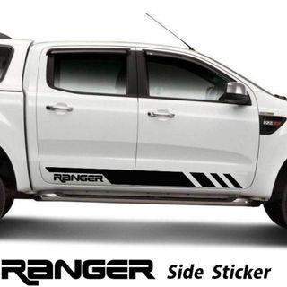2Pcs Ford Ranger Side Doors Vinyl Sticker Decal Black