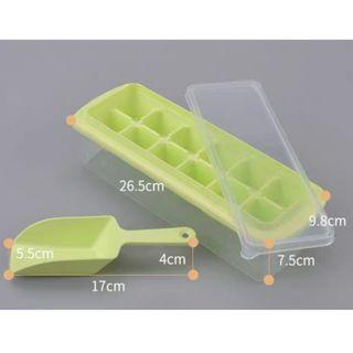 全新 送冰鏟 附蓋製冰盒 12格大冰塊製冰盒 製造冰塊 冰塊收納 冰塊儲存盒 加蓋製冰盒 冰塊盒 結冰盒副食品分裝盒帶蓋