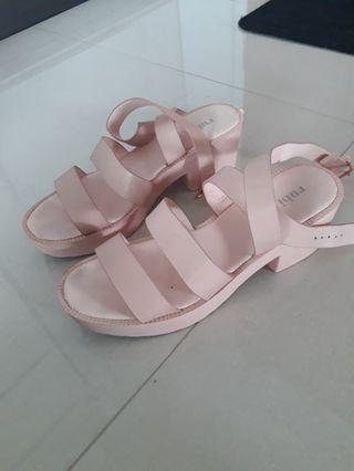 Baby Pink Sandal Cross Strap Heels