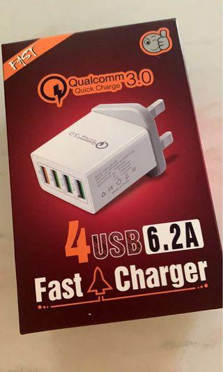 🚚 Fast Charge 3.0 Wall Charger 4 Port USB Portable Adapter