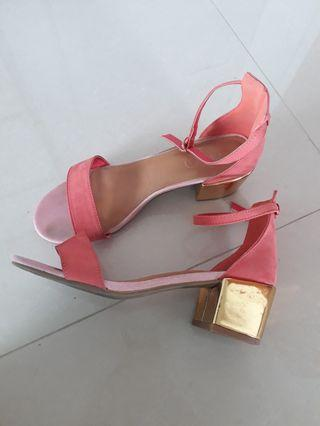 Color Block Sandal with Gold Heel