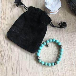 CHROME HEART 8mm bead SKULL GREEN STONE BRACELET