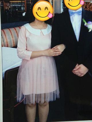 包郵 粉紅色斯文裙