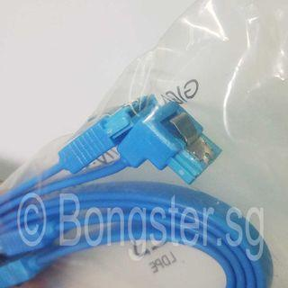 SATA Flat data Cable 2 piece pack straight and 90 degrees type . Desktop PC upgrade DIY