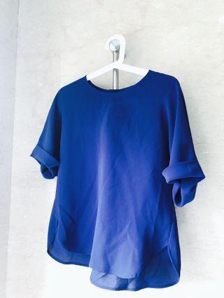🚚 90%新UNIQLO靛藍色飄逸上衣(附原廠model圖)