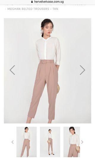 HVV Meghan Belted Trousers - Tan S