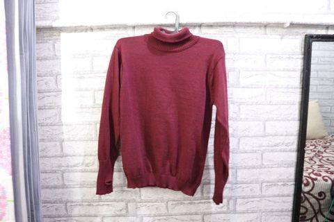 Jual Sweater Turtleneck Turtle Neck Merah Kaos