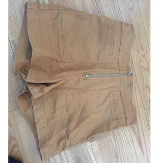 Tan High-Waisted Shorts