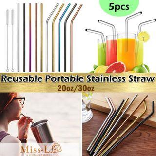 🏅 🏅 HETA-REUSABLE PORTABLE STAINLESS STRAW/20OZ/30OZ