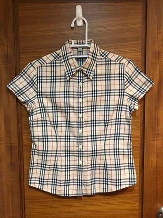 Burberry格紋短袖襯衫
