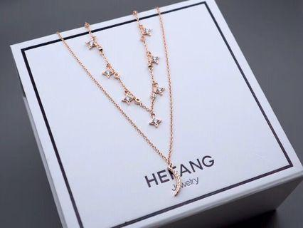 Hefang necklace 星月項鏈 玫瑰金