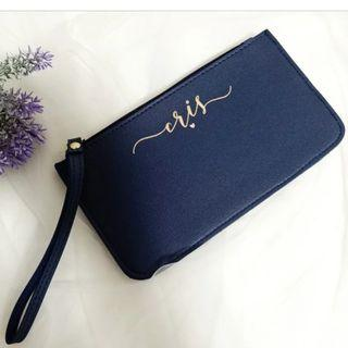 Personalised Calligraphy Leather Clutch
