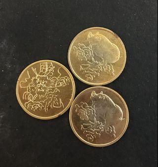 中國生肖章 豬2個 龍1個品相如圖(共三個)