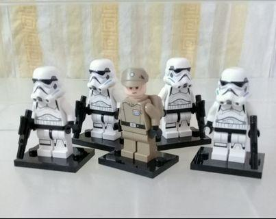 Lego Star Wars Minifigures Stormtroopers and Imperial Officer