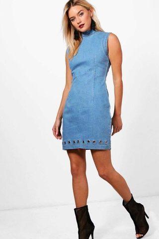 Boohoo Highneck Denim Dress