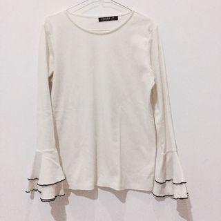 White Long Sleeve Top Batwing