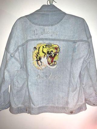 tiger embrioded denim jacket