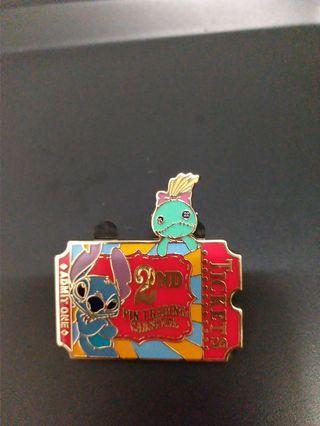 香港迪士尼徽章 disney pin 史迪仔game pin