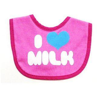 ($30兩個,三個或以上$14/個) cram cream 全棉口水肩 粉紅I love milk款
