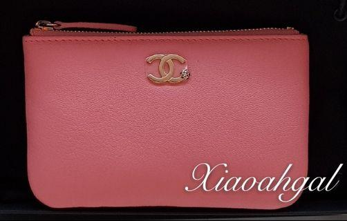 💕QYOP💕 RARE Chanel pink caviar signature chanel logo limited o case wallet pouch (put many things)