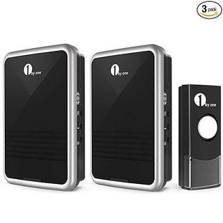 [HG231] 1byone Easy Chime Wireless Doorbell Kit, 2 Plug-in Receivers & 1 Push Button with CD Quality Sound and LED Flash 36 Melodies to Choose, Black