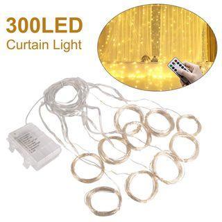 LD1746 USB窗簾燈300LEDs窗戶燈串3mx3m 8種模式帶遙控防水電池盒聖誕節婚禮派對裝飾暖白
