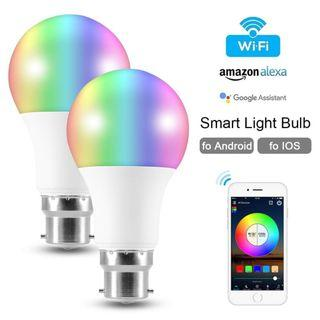 LD1828 適用於Alexa的2個B22 6.5W智能燈泡WiFi控制燈Google IOS / Android