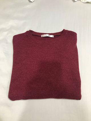 Maroon Knitted Ribbed long sleeve top