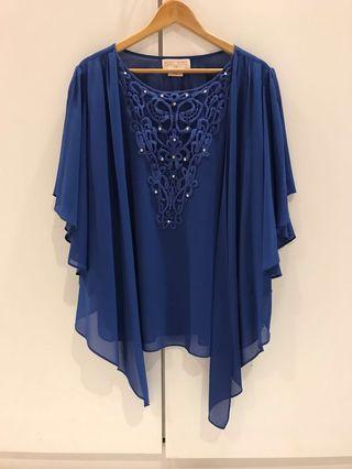 Brand new blue kimono beaded blouse