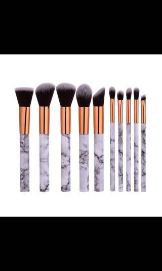 🚚 Quality Marble Look 10pcs Makeup Brush Set (Cruelty Free Brushes)