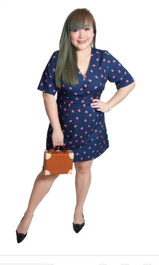 Plus size voycestas strawberry v neck dress