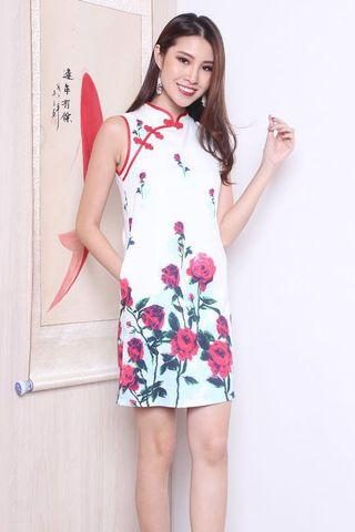 Neonmello Rosea Straight Cut Mandarin Cheongsam in White