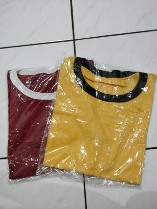 T-shirt maroon - yellow (2pcs)