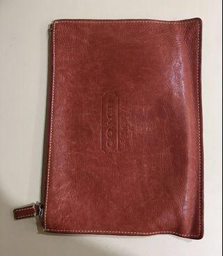 Coach 100% waxed leather clutch - red