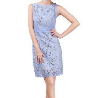 Serenity Crochet Lace Dress 優雅藍色鏤空設計連身裙