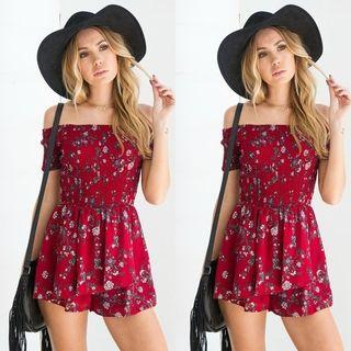 🚚 Newstyle fashion womens off shoulder red romper