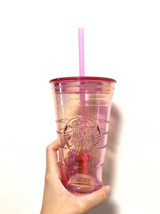 BN Starbucks Pink Venti Glass with Plastic Straw