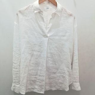 Uniqlo White Linen V Neck Blouse/Shirt