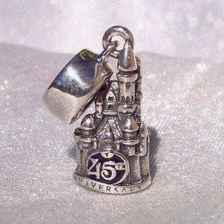 Disney World 45th Anniversary castle silver dangle