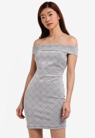 ZALORA grey off shoulder fitted dress