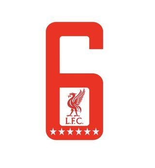 Liverpool 6 Champions League with logo + stars [Car Decal / Sticker Vinyl] (Free Mailing!)